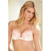 Embroidered Pink Balcony Bra